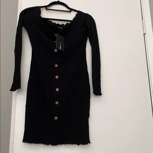 Jacklyn Off Shoulder Mini Dress Fashion Nova Black